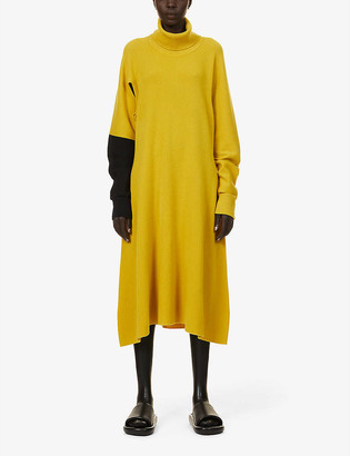 Issey Miyake Hand colour-block wool midi dress