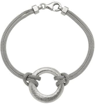 Italian Silver Textured Circle Bracelet, 8.6g