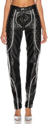 CHRISTIAN COWAN Leather and Swarovski Crystal Skinny Pant in Black 1 | FWRD