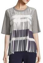 Public School Ezra Metallic Pleated Top