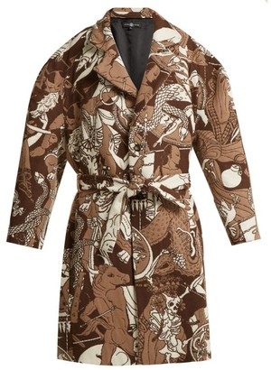 Edward Crutchley Oversized Wool-jacquard Coat - Brown Multi
