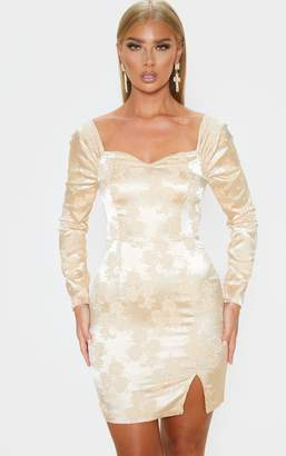 PrettyLittleThing Champagne Jacquard Puff Sleeve Bodycon Dress