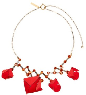 Marni Flower And Crystal Necklace - Womens - Red