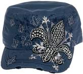 Crystal Case Womens Cotton Rhinestone Fleur de Lis Cadet Cap Hat