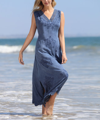 Ananda's Collection Women's Maxi Dresses Navy - Navy Embroidery-Accent V-Neck Maxi Dress - Women