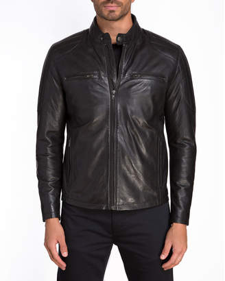 Jared Lang Men's Leather Moto Zip-Pocket Jacket