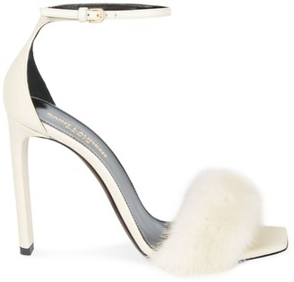 Saint Laurent Mink Fur-Trimmed Leather Sandals