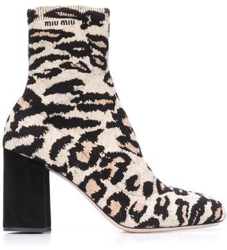Miu Miu Leopard Knit Booties