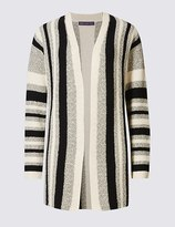 Marks and Spencer Cotton Rich Striped Open Front Cardigan
