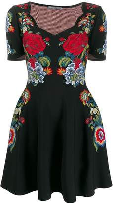 Alexander McQueen floral embroidered mini dress