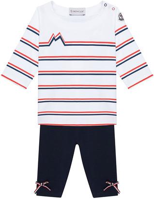 Moncler Girl's Striped Crewneck T-Shirt w/ Bow Pants, Size 9M-3