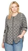 Lucky Brand Women's Plus Size Geo Print Button Top