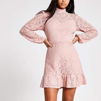 River Island Womens Petite Pink lace high neck ruffle mini dress
