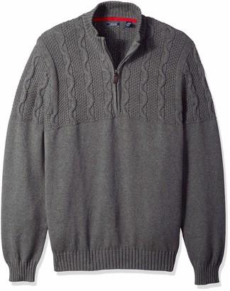 Izod Men's Big and Tall Holiday Quarter Zip Textured 5 Gauge Sweater