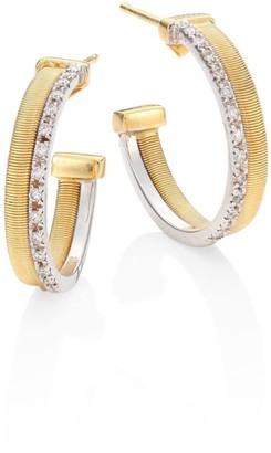 "Marco Bicego Masai Two-Row Diamond, 18K Yellow & White Gold Hoop Earrings/0.8"""