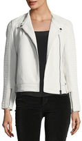 Cupcakes And Cashmere Deana Zip-Front Leather Moto Jacket