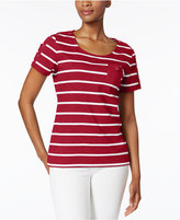 Karen Scott Striped Pocketed Active Top, Created for Macy's