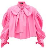 Elzinga - Pussy-bow Balloon-sleeved Technical-poplin Blouse - Womens - Pink