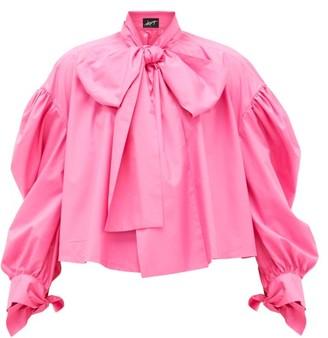 Elzinga - Pussy-bow Balloon-sleeved Technical-poplin Blouse - Pink