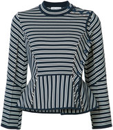 Sonia Rykiel striped flared-hem top - women - Cotton/Polyester - S