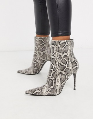 Topshop pointed snakeskin stiletto boots in grey