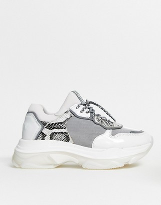 Bronx leather chunky sneaker in grey and snake