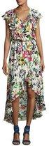 Parker Constance Flutter-Sleeve Floral Blouson Dress