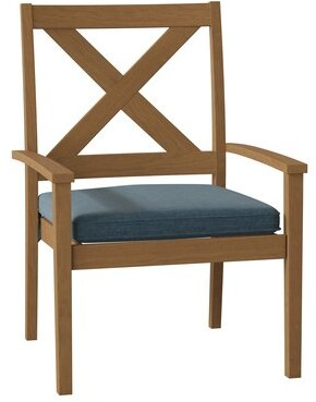 Summer Classics Drake Stacking Teak Patio Dining Armchair with Cushion Cushion Color: Cast Lagoon