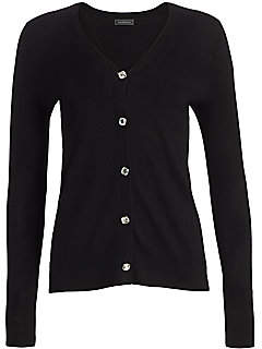 Saks Fifth Avenue Women's COLLECTION Cashmere Jewel-Button Boyfriend Cardigan