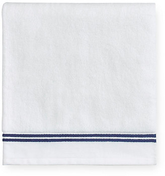 Sferra Aura Bath Sheet - White/Dark Blue