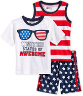 Nannette 3-Pc. Graphic-Print T-Shirt, Tank Top and Shorts Set, Little Boys (4-7)