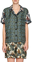 Burberry X Barneys New York Women's Medallion-Print Contrast Pajama Top-GREEN