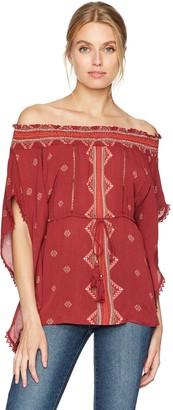 Taylor & Sage Women's Printed Off The Shoulder Woven Kaftan Top