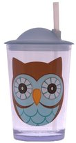 Camilla And Marc Epicurean Europe 7.5 x 7.5 x 14.2 cm Acrylic SAN Friendly Faces Children's Blue and Brown Owl Design Tumbler with Straw Lid, Clear