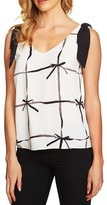 CeCe Women's Lattice Ribbons Bow-Shoulder Sleeveless Blouse