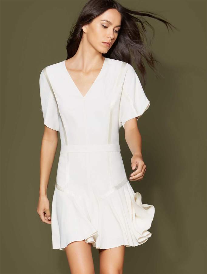 Halston Short Sleeve Tape Detail Flounce Dress