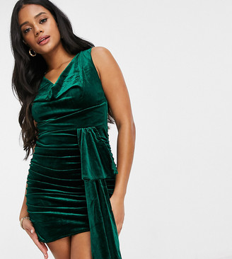 Jaded Rose exclusive velvet mini dress with cowl and train detail in emerald green