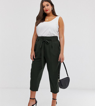 Asos DESIGN Curve tailored tie waist tapered ankle grazer trousers-Green