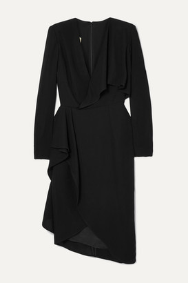 Elie Saab Draped Wrap-effect Cady Dress - Black