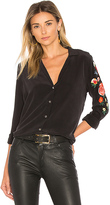 Equipment Adalyn Embroidered Button Up in Black. - size M (also in S,XS)
