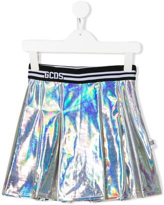 Gcds Kids Holographic-Effect Pleated Skirt