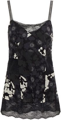 McQ Lace-paneled Floral-print Silk-georgette Camisole