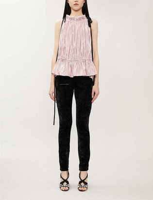 16Arlington Taylor high-neck ruched crepe top