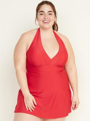 Old Navy Secret-Slim Plus-Size Halter Swim Dress