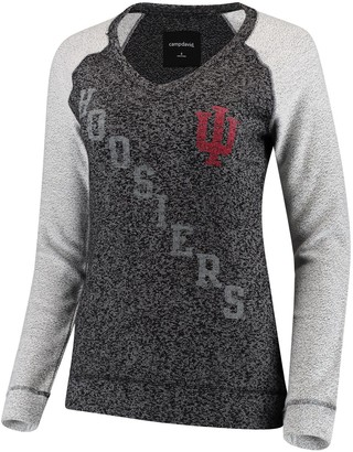 Women's Heather Black Indiana Hoosiers Weekender Knit V-Neck Sweatshirt