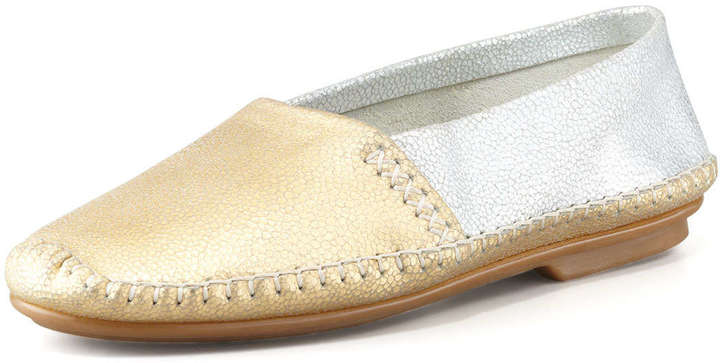 Jacques Levine Davies Topstitched Metallic Moccasin, Gold/Silver