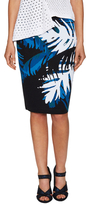 Timo Weiland Palm Print Back Vent Pencil Skirt