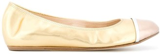 Lanvin metallic toe-capped ballerina shoes