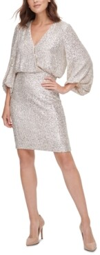 Eliza J Sequined Blouson Shift Dress
