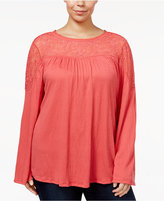 Style&Co. Style & Co Plus Size Mesh Yoke Bell-Sleeve Top, Created for Macy's